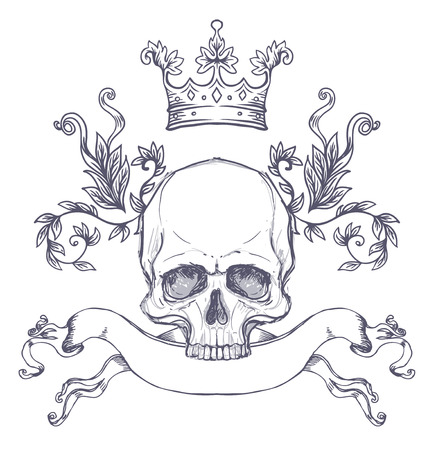 Blason gothique avec le crâne. Étiquette vintage Élément graphique de design vectoriel rétro. Dessin au trait dessiné à la main. Modèle de tatouage victorien. Illustration de vecteur isolé, élément de conception. Fond blanc. Banque d'images - 87434690