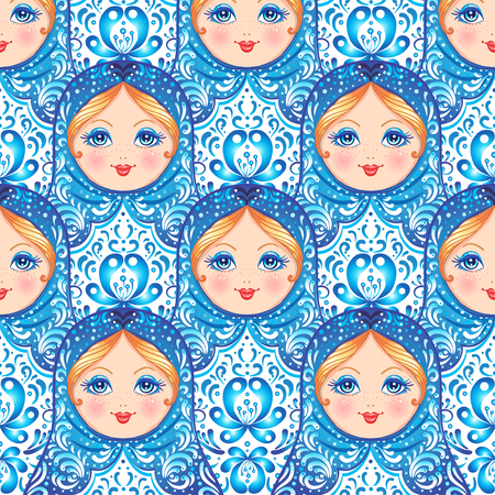 Babushka (matryoshka) seamless pattern. Traditional Russian wooden nesting doll with painted flowers. Folk arts and crafts. Vector illustration in cartoon style. Retro Souvenir from Russia 矢量图像