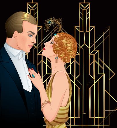 flapper: Hermosa pareja en estilo art deco. Moda retro: glamour hombre y mujer de veinte años. Ilustración vectorial Estilo de Flapper 20 Partido vintage o plantilla de diseño temático de la invitación de la boda.