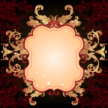 victorian wallpaper: Baroque golden pattern over dark brown background, fancy  and glamorous elements, vector illustration. Luxury concept. Fabric design, wrapping paper, textile. Chic frame, border