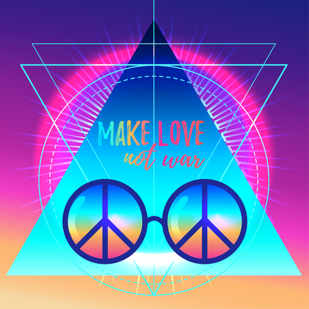 Make love not war. Rainbow hippie sun glasses with peace sign. Vector illustration over sacred geometry background. Modern hipster insignia. Psychedelic concept. Buddhism, trance music. Esoteric art.