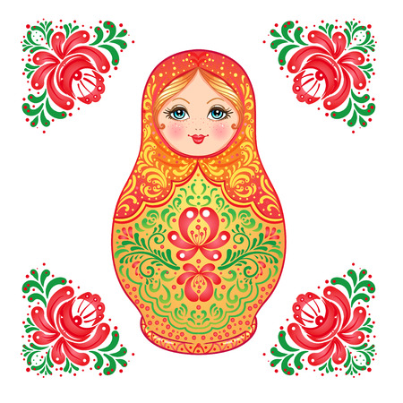 matryoshka: Babushka (matryoshka), traditional Russian wooden nesting doll decorated with painted flowers. Folk arts and crafts. Vector illustration in cartoon style isolated on white. Retro Souvenir from Russia.