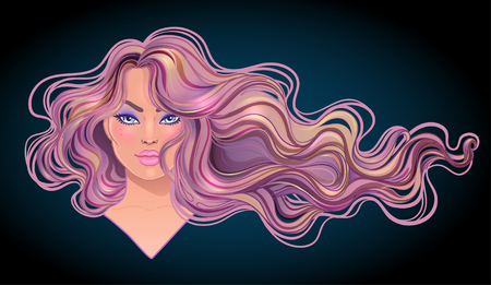Beautiful woman with long wavy hair flowing in the wind. Hair salon concept. vector illustration isolated. Portrait of a young Caucasian woman. Glamour Fashion concept.