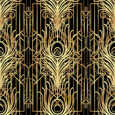 Art deco style geometric seamless pattern in black and gold. Vector illustration. Roaring 1920's design. Jazz era inspired . 20's. Vintage Fabric, textile, wrapping paper, wallpaper. Retro hand drawn. Vettoriali