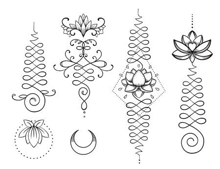 Lotus y Geometría Sagrada. Unamole hindú símbolo de la sabiduría y el camino a la perfección. Conjunto de carne de tatuaje, logotipo de yoga, diseño de budismo. Boho print, póster, camiseta textil. Conjunto de ilustración vectorial aislada