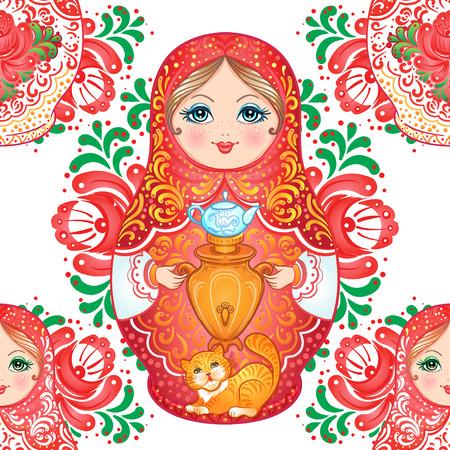 muñecas rusas: Babushka (matryoshka) de patrones sin fisuras. Muñeca de anidación de madera rusa tradicional con flores pintadas. Artes populares y artesanías. Ilustración de vector en estilo de dibujos animados. Recuerdo retro de Rusia