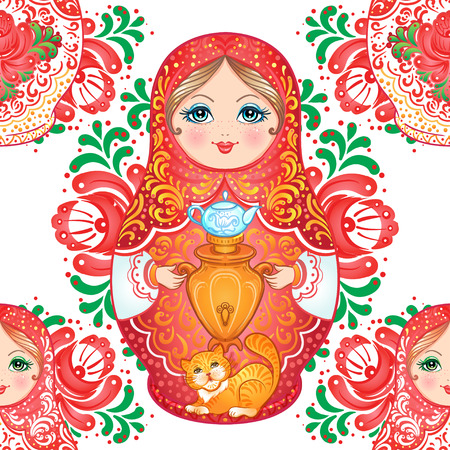 Babushka (matryoshka) seamless pattern. Traditional Russian wooden nesting doll with painted flowers. Folk arts and crafts. Vector illustration in cartoon style. Retro Souvenir from Russia Ilustração
