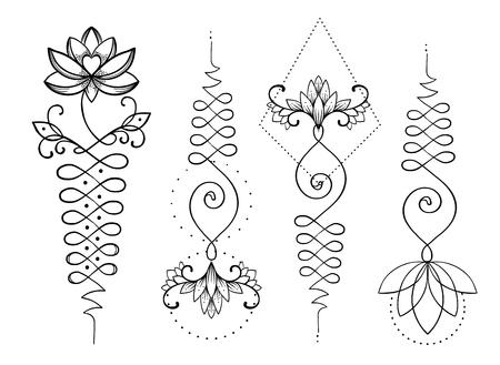 연꽃과 신성한 기하학. 지저분한 힌두교의 상징 인 지혜와 완벽한 길. 문신의 집합, 요가 로고, 불교 디자인. Boho 인쇄, 포스터, 티셔츠 섬유. 격리 된 벡