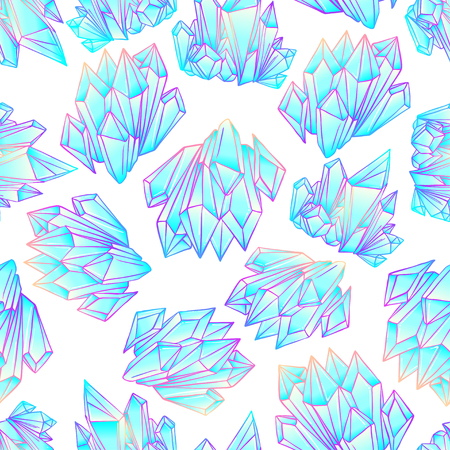 Hand drawn crystal gem seamless pattern. Geometric shiny gemstone symbol. Trendy hipster background, fabric design, fashiontextiles. Colorful gradient. Isolated vector illustration. Pastel goth style Illustration