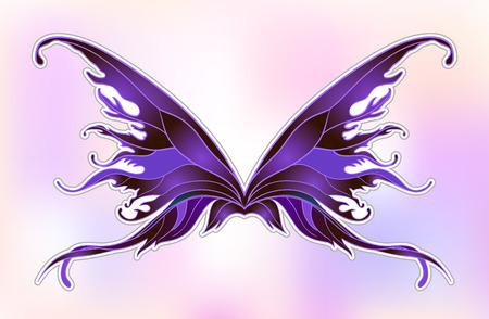 Pair of magical fairy wings. Hand-drawn vector illustration isolated. Trendy magic print, alchemy, mystery, divine goddess, spirituality, occultism. Rainbow colors. Halloween costume detail.