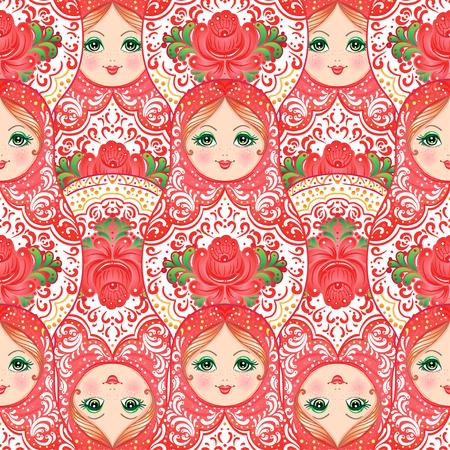 Babushka (matryoshka) de patrones sin fisuras. Muñeca de anidación de madera rusa tradicional con flores pintadas. Artes populares y artesanías. Ilustración de vector en estilo de dibujos animados. Recuerdo retro de Rusia Foto de archivo - 87434727