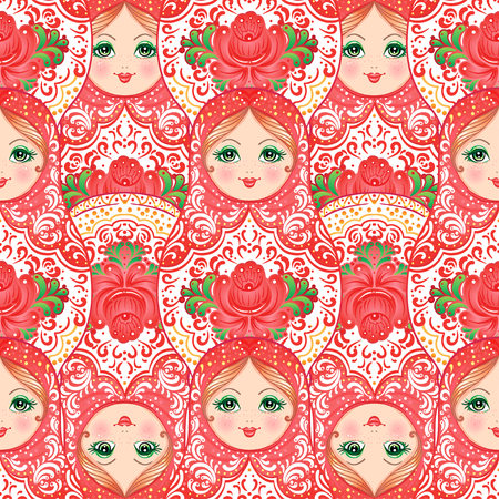 Babushka (matryoshka) seamless pattern. Traditional Russian wooden nesting doll with painted flowers. Folk arts and crafts. Vector illustration in cartoon style. Retro Souvenir from Russia Illustration