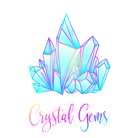Hand drawn crystal gems. Geometric shiny gemstone symbol. Trendy hipster background, logotype, tattoo design element. Colorful gradient. Isolated vector illustration. Pastel goth colors.