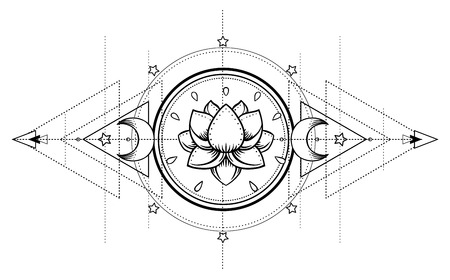 Lotus and Sacred Geometry. Ayurveda symbol of harmony and balance, and universe. Tattoo flesh design, yoga logo. Boho print, poster, t-shirt textile. Anti stress book. Isolated vector illustration. Çizim
