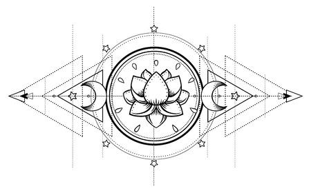 Lotus e Sacred Geometry. Simbolo ayurvedico di armonia ed equilibrio e universo. Disegno della carne del tatuaggio, logo dello yoga. Stampa Boho, poster, t-shirt in tessuto. Anti stress book. Illustrazione vettoriale isolato