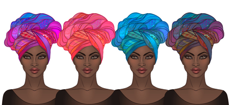 Two African American pretty girls. Vector Illustration of Black Woman with glossy lips and turban. Great for avatars. Illustration isolated on white.  イラスト・ベクター素材