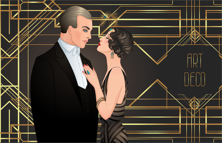 Bella coppia in stile art deco. Moda retrò: uomo e donna glamour anni '20. Illustrazione vettoriale. Flapper anni '20. Modello di disegno dell'invito di matrimonio vintage festa o tematica.