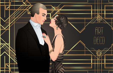 Mooi paar in art decostijl. Retro mode: glamourman en -vrouw van de jaren twintig. Vector illustratie. Flapper 20's stijl. Vintage partij of thematische bruiloft uitnodiging ontwerpsjabloon.