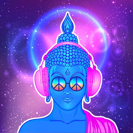 Pace e amore. Buddha colorato in occhiali arcobaleno ascoltando la musica in cuffia. Illustrazione vettoriale Hippy segno di pace sugli occhiali da sole. Concetto psichedelico. Buddismo, musica trance. Arte esoterica Archivio Fotografico - 87434749