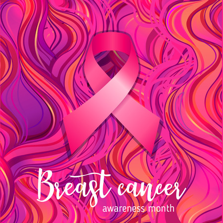 October: Breast Cancer Awareness Month, annual campaign to increase awareness of the disease. Pink ribbon, vector illustration over ornate pattern. 向量圖像