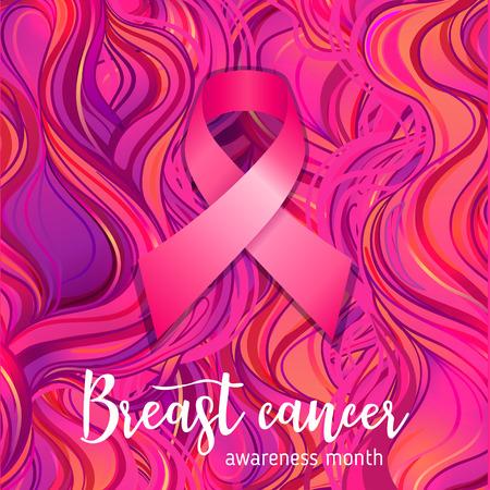 Oktober: Breast Cancer Awareness Month, jaarlijkse campagne om het bewustzijn van de ziekte te vergroten. Roze lint, vectorillustratie over sierlijke patroon. Stock Illustratie