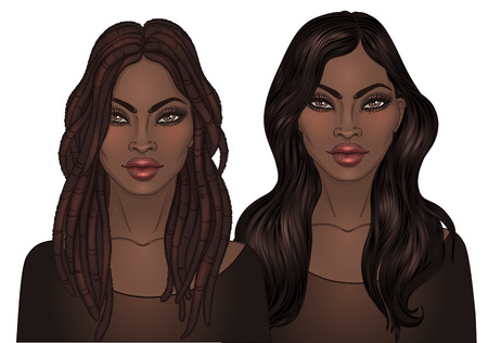 African American pretty girl. Vector Illustration of Black Woman with dread locks and straight long hair. Great for avatars. Illustration over black background.
