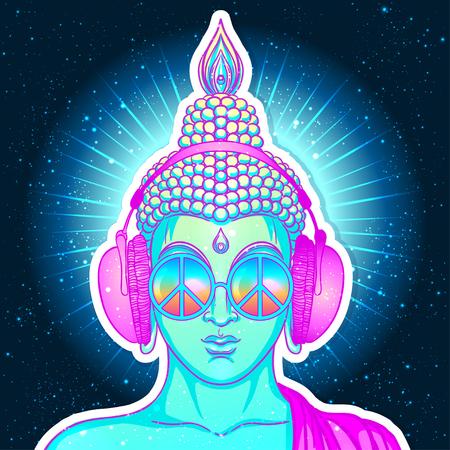 평화와 사랑. 헤드폰에 음악을 듣고 무지개 안경에 다채로운 부처님. 벡터 일러스트 레이 션. 히피 평화 서명 선글라스에. 환각 개념입니다. 불교, 트랜