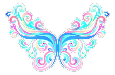 쌍의 마법의 요정 날개. 손으로 그린 벡터 일러스트 레이 션을 격리합니다. 트렌디 한 마법의 프린트, 연금술, 신비, 신의 여신. 무지개 색깔. 할로
