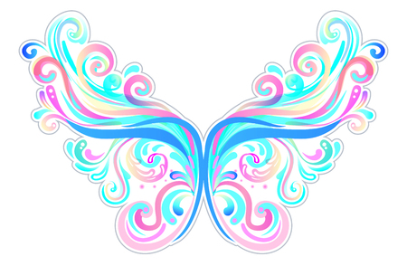 Pair of magical fairy wings. Hand-drawn vector illustration isolated. Trendy magic print, alchemy, mystery, divine goddess. Rainbow colors. Halloween costume detail. Sticker, pin, patch. Imagens - 87434767