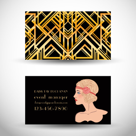 Art deco style business card. Abstract  vintage patterns and flapper girl. Retro party geometric background set (1920s style). Vector illustration for glamour party, thematic wedding.