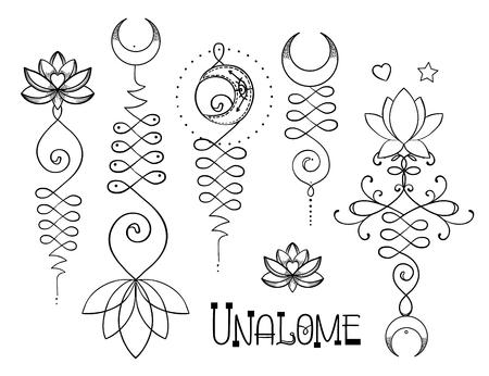 Lotus en heilige geometrie. Unamole hindoesymbool van wijsheid en weg naar perfectie. Set van tatoeage vlees, yoga-logo, boeddhisme ontwerp. Boho print, poster, t-shirt textiel. Geïsoleerde vector illustratie set Stock Illustratie