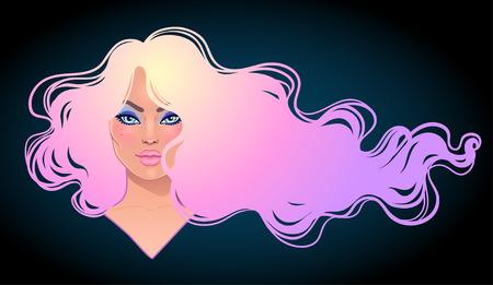 Mujer hermosa con el pelo teñido púrpura ondulado largo que fluye en el viento. Concepto de salón de pelo ilustración vectorial aislado. Retrato de una joven mujer de raza blanca. Concepto de moda Glamour.