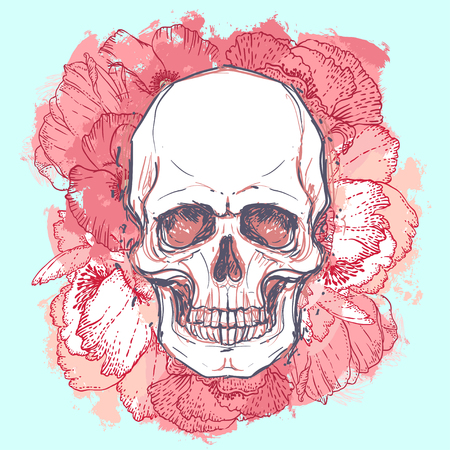 rose tattoo: Human skull with peony, rose and poppy flowers on watercolor background.Tattoo design element. Vector illustration. Religion, death, occultism, calavera symbol, alchemy magic.