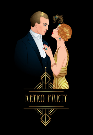 Beautiful couple in art deco style. Retro fashion: glamour man and woman of twenties. Vector illustration. Flapper 20's style. Vintage party  or thematic wedding invitation design template.