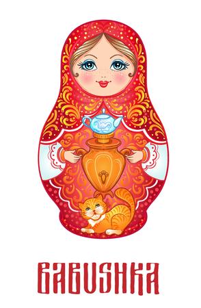 Babuschka (Matroschka), traditionelle russische hölzerne Nestingpuppe verziert mit gemalten Blumen. Volkskunst und Kunsthandwerk. Vektorillustration in der Karikaturart lokalisiert auf Weiß. Retro Souvenir aus Russland. Standard-Bild - 87434789