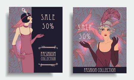 Retro fashion. Costume party or mafia game discount banner template. Flapper girl. Vintage background set (1920s style). Vector illustration for glamour party, thematic wedding.