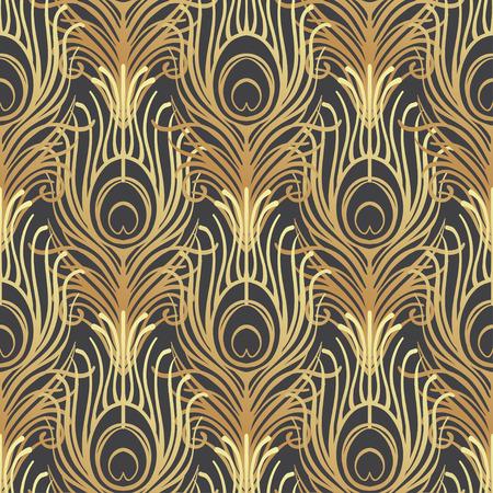 Art Deco Stil geometrische nahtlose Muster in schwarz und gold. Vektor-Illustration. Roaring 1920's Design. Jazz-Ära inspiriert. 20er Jahre. Vintage Stoff, Textil, Geschenkpapier, Tapeten. Retro Hand gezeichnet.