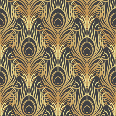 Art deco style geometric seamless pattern in black and gold. Vector illustration. Roaring 1920's design. Jazz era inspired . 20's. Vintage Fabric, textile, wrapping paper, wallpaper. Retro hand drawn. Ilustracja