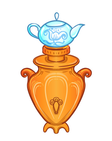 Vintage tea Samovar (self-boiler) heated metal container traditionally used in Russia. Vector illustration in cartoon style isolated on white.