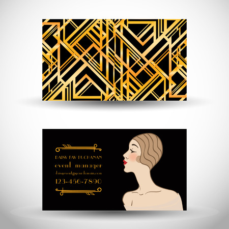 Art deco style business card. Sample Text. Abstract vintage patterns and flapper girl. Retro party geometric background set (1920s style). Vector illustration for glamour party, thematic wedding.
