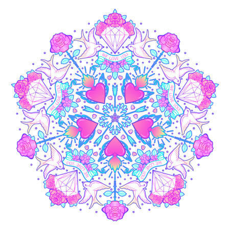 Tattoo old school style mandala. Vector illustration isolated. Linework Traditional Tattooing Style design, with rose, swallow, diamond and other classic symbols. Print, poster, t-shirt, sticker.