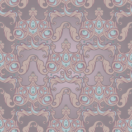 Seamless pattern design with crowns and hearts in medieval style. Ornate Royal repetition background. Wrapping paper, wallpapers. Vector illustration. Detailed textile, fabric, paper design.