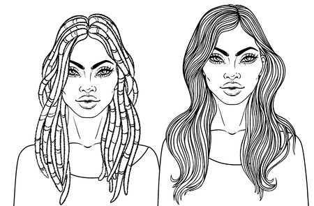 African American pretty girl. Vector Illustration of Black Woman with dreadlocks hairstyle and long strait hair. Great for avatars. Illustration isolated on white. Coloring book for adults.