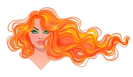 風に流れる長いウェーブのかかった髪と美しい赤毛の女性。髪サロン コンセプトです。ベクトル イラスト分離されました。若い白人女性の肖像画。