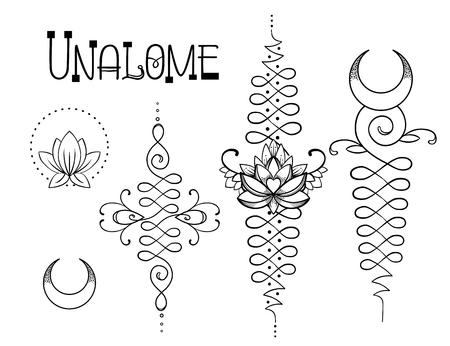 Lotus and Sacred Geometry. Unamole hindu symbol of wisdom and path to perfection. Set of tattoo flesh, yoga logo, Buddhism design. Boho print, poster, t-shirt textile. Isolated vector illustration set