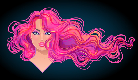 Beautiful woman with long wavy pink dyed hair flowing in the wind. Hair salon concept. vector illustration isolated. Portrait of a young Caucasian woman. Glamour Fashion concept.