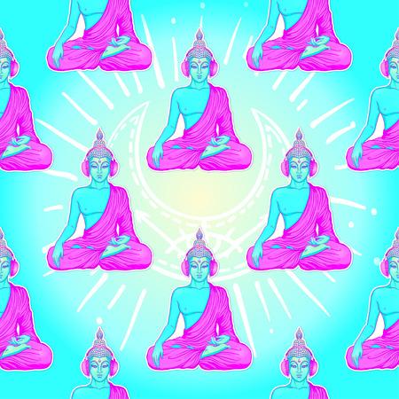 Moderne Boedha die aan de muziek in hoofdtelefoons in neonkleuren luisteren die op wit worden geïsoleerd. Naadloos patroon? Vector illustratie. Vintage psychedelische compositie. Indiaas, boeddhisme, trancemuziek.