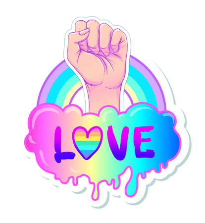 Equal love. Inspirational Gay Pride poster with rainbow spectrum colors. Homosexuality emblem. LGBT rights concept. Sticker, patch, poster graphic design. Vector illustration of hand fist raised up.