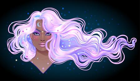 Czarna magia. Tajemnicza dziewczyna z galaktycznym makijażem i niebem pełnym gwiazd we włosach, ufarbowanych na fioletowo. Inspirowane secesją. Astrologia, koncepcja mistycyzmu. Żywe kolory. Ilustracja wektorowa zodiaku.
