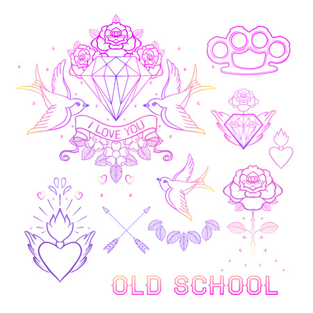 rose tattoo: Old school tattoo set. Classic vector tattoo doodle elements: flower, sacred heart, diamond, swallow, brass knuckles. Traditional Tattooing Style Drawing Collection. Sticker, patch, pin design.